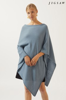 Jigsaw Blue Wool Cashmere Blend Long Poncho