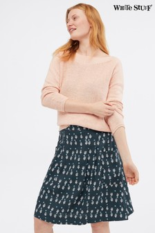 White Stuff Blue Charlie Print Linen Skirt