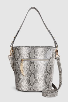 Bucket Bag With Feather Detail