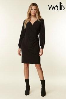 Wallis Black Button Side Wrap Dress