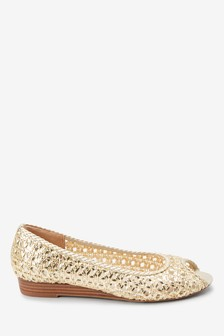 Peep Toe Woven Mini Wedges