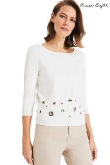 Phase Eight Cream Malory Mixed Metal Knit Top