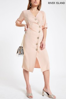 River Island Petite Pink Button April Midi Dress