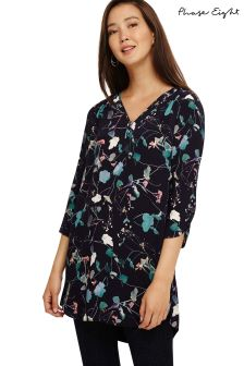 Phase Eight Blue Pearly Floral Tunic Top