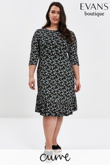 Evans Curve Black Jersey Frilled Hem Dress