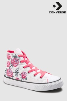 Converse White Youth Floral Chuck High Top Trainer