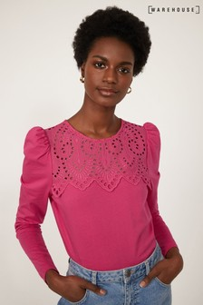 Warehouse Pink Embroidered Lace Yoke Top