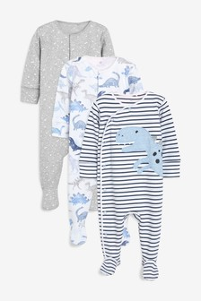 Dino Character Sleepsuits Three Pack (0mths-2yrs)