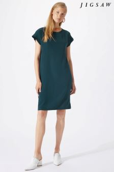Jigsaw Green Layered Sleeve Silk Front Dress