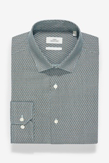 Regular Fit Single Cuff Easy Iron Geometric Print Shirt