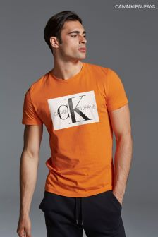 Calvin Klein Jeans Mens Orange Monogram Box Logo Slim T-Shirt