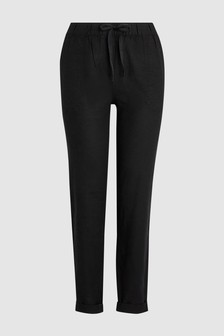 44285e36335 Linen Blend Tapered Trousers