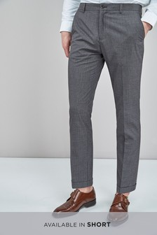 Gingham Check Slim Fit Trousers