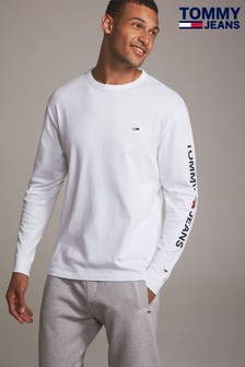Tommy Jeans White Essential Long Sleeved Logo Tee