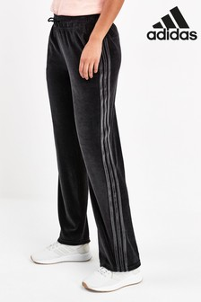 adidas Black Velour Wide Leg Joggers