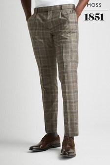 Moss London Premium Skinny Fit Brown Check Trouser