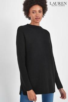 Lauren Ralph Lauren® Black Ribbed Slouchy Jumper