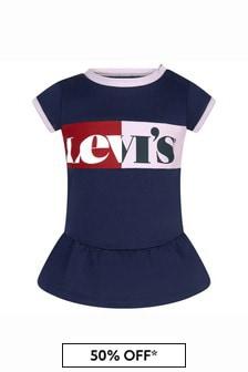 Levis Kidswear Baby Girls Blue Cotton Blend Dress