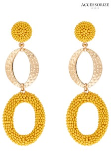Accessorize Yellow Oval Beaded Drop Earrings