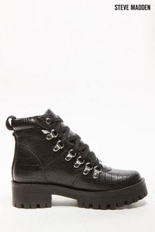 Steve Madden Bam Black Croc Hiker Boots