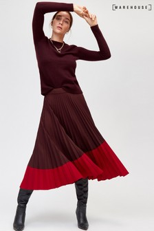 Warehouse Ruby Colourblock Midi Skirt