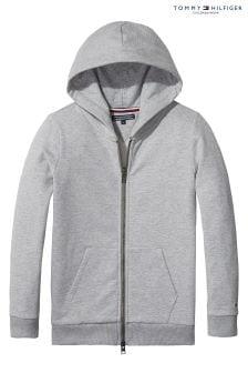 Tommy Hilfiger Girl Grey Brand Logo Zip Hoody