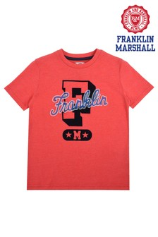 Franklin & Marshall Red Coloured Marled Tee