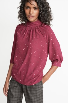 High Neck Volume Sleeve Blouse