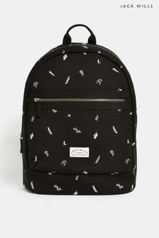 Jack Wills Black Floral Portbury Backpack