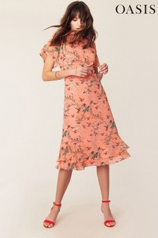 Oasis Orange Floral Tiered Midi Dress