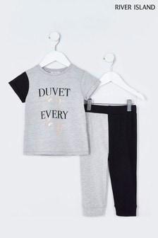 River Island Grey Duvet Day Colourblocked Set