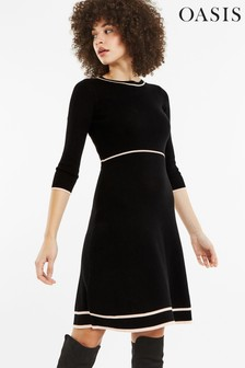 Oasis Multi Black Reanne Fit And Flare Knitted Dress