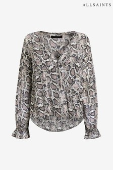 All Saints Wickelbluse mit Leopardenmuster