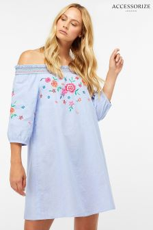Accessorize Blue Alexa Off Shoulder Dress