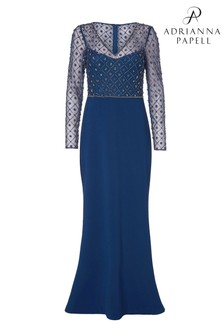 Adrianna Papell Blue Bead Bodice Crepe Dress