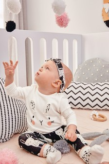 2e5ad282259f9 Monochrome Bunny Three Piece Set (0mths-2yrs)
