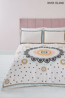 River Island Medallian Embroidery And Print Duvet Cover And Pillowcase Set