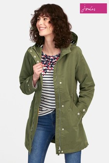 Joules Green Raine Hooded Mid Length Rain Coat