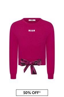 MSGM Girls Pink Cotton Sweat Top