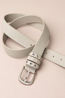 Mint Velvet Grey Stud Eyelet Leather Belt