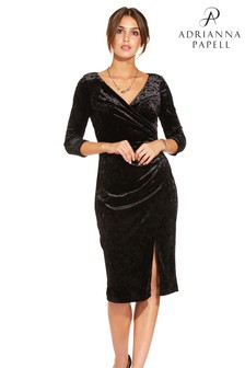 Adrianna Papell Black Short Velvet Dress