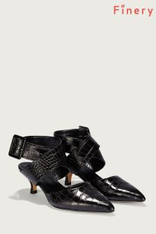 Finery London Black Jenni Snake Print Ankle Strap Shoe