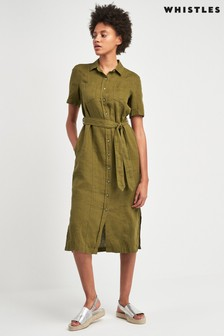 Whistles Khaki Bella Linen Shirt Dress