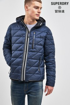 Superdry Navy Quilted Fuji Coat