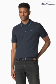 Ben Sherman Blue Script Tipped Pique Polo
