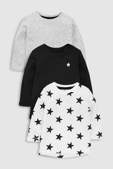 Long Sleeve Star T-Shirts Three Pack (3mths-7yrs)