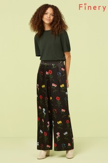 Finery London Black Ailie Satin Cropped Trouser