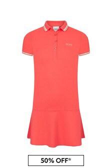 Boss Kidswear Girls Coral Cotton Dress