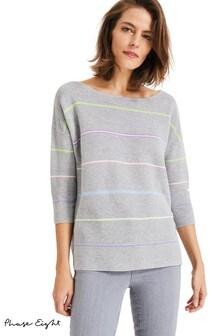 Phase Eight Grey Piera Rainbow Stripe Knit