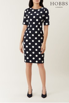 Hobbs Navy Astraea Spot Dress